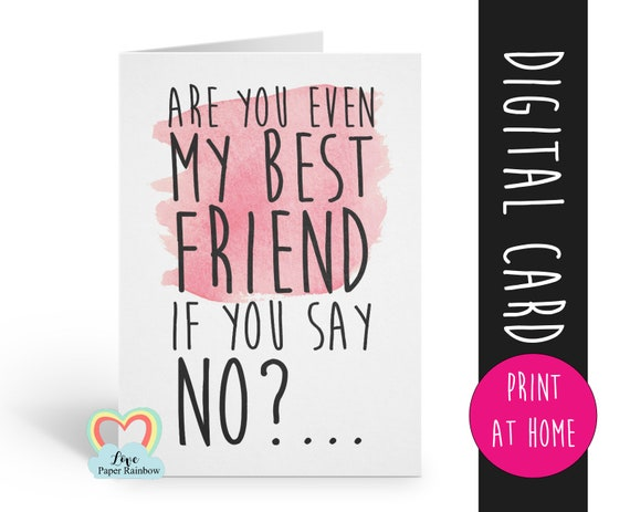 PRINTABLE funny bridesmaid card will you be my maid of honour digital download bridesmaid proposal best friend bridesmaid card download