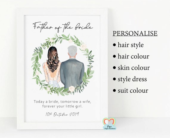 father of the bride print, father of the bride gift, personalised father of the bride wedding gift, today a wife tomorrow a bride