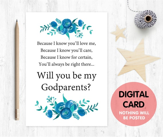 printable godparents card will you be my godparents floral printable godparents proposal because I know you'll love me godparents poem