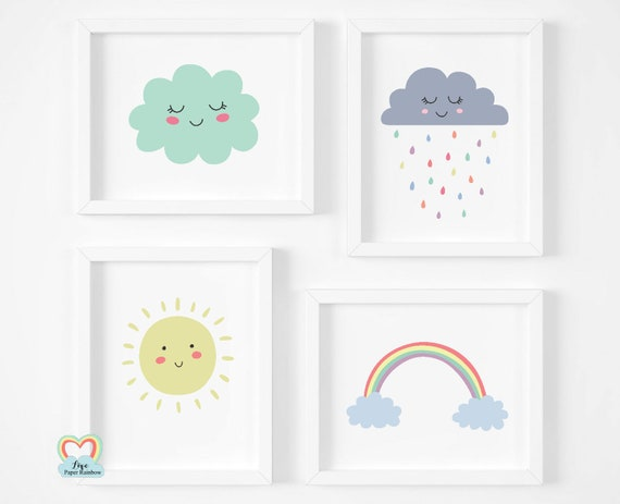 weather prints, cute nursery prints, rainbow print, pastel nursery prints, new baby gifts, set of 4 nursery prints, neutral nursery prints