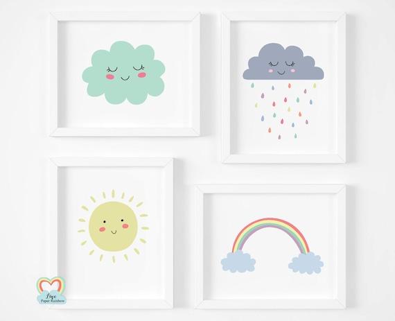 weather prints, cute nursery prints, rainbow print, pastel nursery prints, new baby gifts, set of 4 nursery prints, neutral nursery prints
