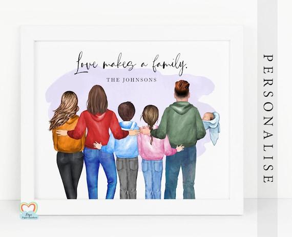 family print, family portrait, adoption gift, adoption print, family wall art, family christmas gift, grandparents gift, love makes a family
