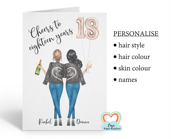 best friend 18th birthday card, personalised 18th birthday card, cheers to 18 years, personalised best friend birthday card, portrait card