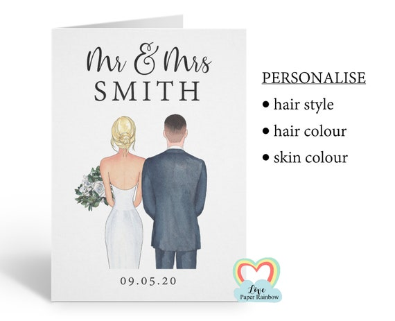 personalised wedding card, personalised anniversary card, mr and mrs card, personalised mr and mrs card, wedding portrait card