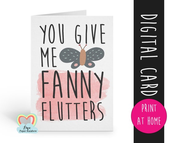 you give me fanny flutters rude valentine card printable love card for boyfriend husband lesbian vagina card instant download naughty adult