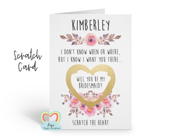 bridesmaid scratch card will you be my maid of honour I don't know when I don't know where but I know I want you there bridesmaid proposal