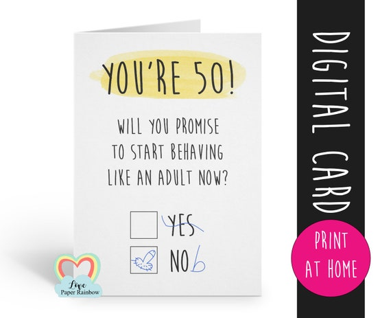 PRINTABLE 50th birthday card digital download funny 50th birthday card instant download rude 50th birthday card printable grow up