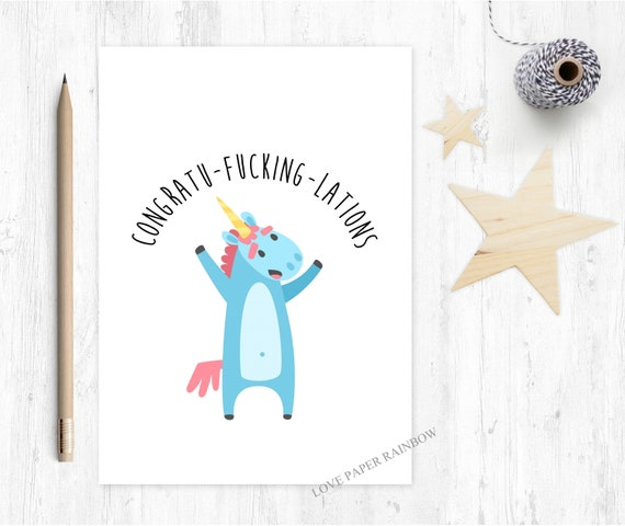 graduation card funny congrats card well done unicorn rude greeting card pass driving test inappropriate congratulations card