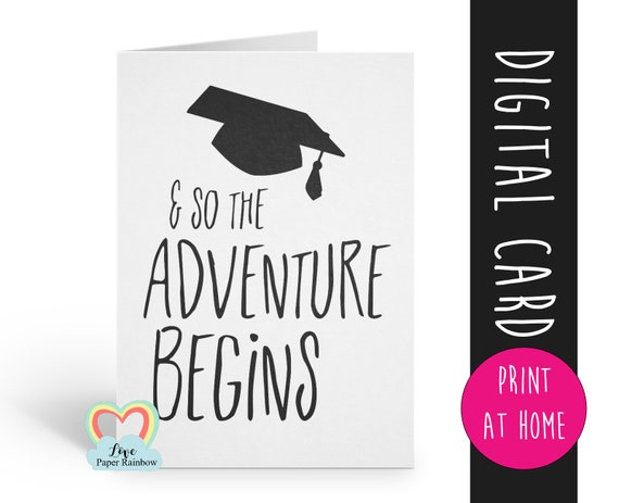 printable graduation card printable class of 2018 and so the adventure begins graduation card digital download graduation printable