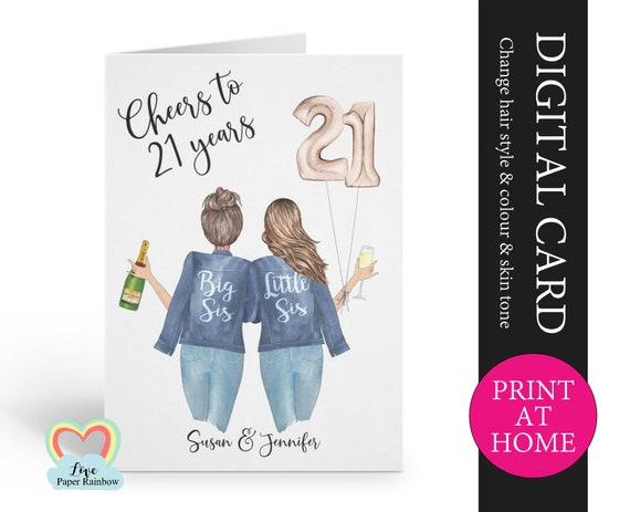 personalized 21st sister birthday card printable cheers to 21 years digital pdf custom little sister 21st printable card print at home