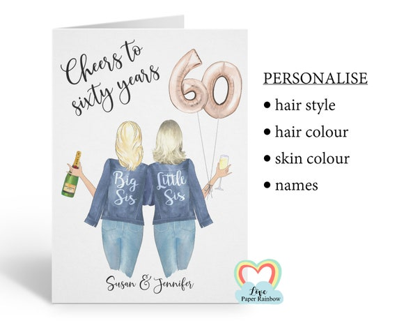 sister 60th birthday card, personalised 60th birthday card, cheers to 60 years, personalised sister birthday card, little sister birthday