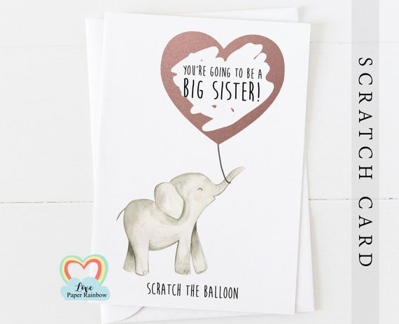 big sister scratch card, you're going to be a big sister, elephant big sister card, pregnancy announcement, big sister reveal, baby reveal