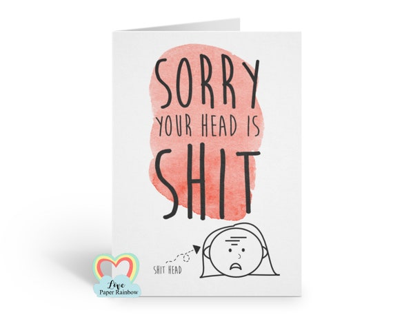 migraine card funny get well soon card headache brain tumour operation sorry your head is shit surgery love paper rainbow