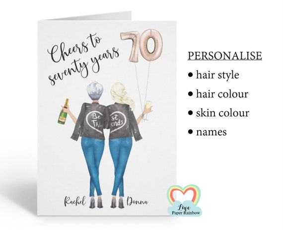 best friend 70th birthday card, personalised 70th birthday card, cheers to 70 years, personalised best friend birthday card, portrait card