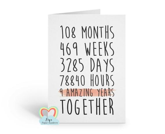 9th anniversary card, 9th wedding anniversary card, 9 years together, 9 amazing years, valentines card, gay anniversary card, boyfriend card