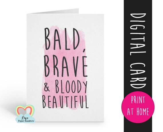 chemotherapy card printable | bald brave and beautiful | instant download | cancer awareness | cancer printable | cancer support | bald card
