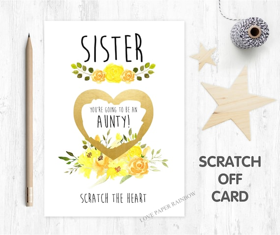 auntie reveal card pregnancy reveal, pregnancy announcement, pregnancy scratch card, i'm pregnant scratch card, you're going to be an aunty