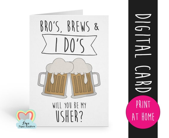 usher proposal printable will you be my usher bros brews and I dos instant download digital usher proposal funny usher card digital