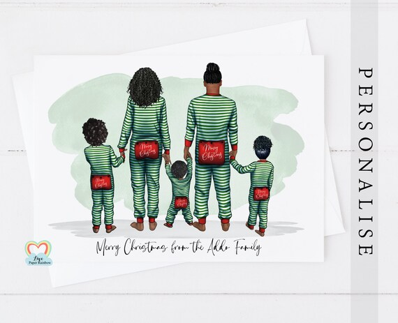 pajama family christmas card, personalised christmas card, family christmas card, family of 5 Christmas card, parents and child christmas