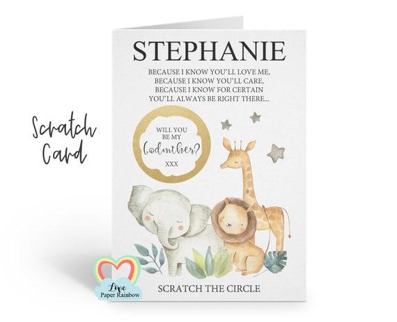 godmother scratch card, godmother card, will you be my godmother, godmother poem card, floral godmother card, godmother poem scratch card