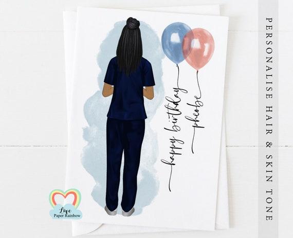 nurse birthday card, personalised birthday card for nurse
