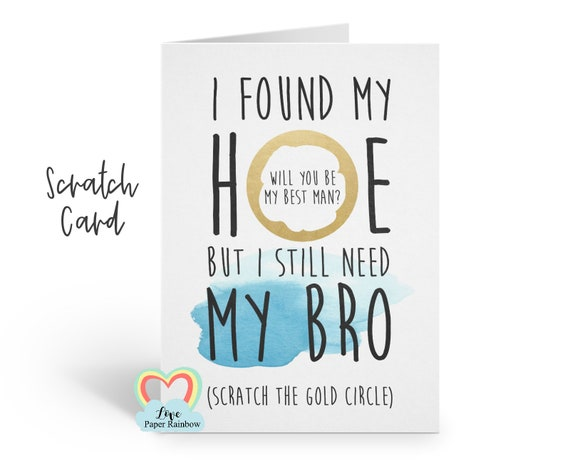 will you be my best man scratch card, funny best man proposal, will you be my usher, I need my bro, love paper rainbow, rude best man card