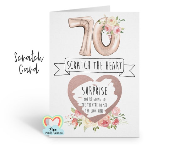 70th birthday scratch card | personalised 70th birthday card | scratch and reveal 70th birthday | 70th birthday gift | surprise trip 70th