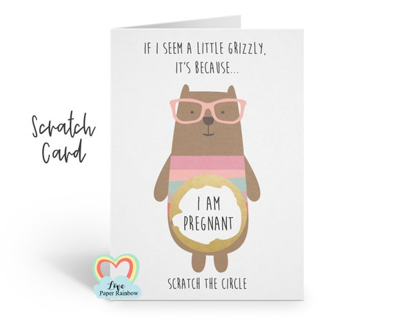 i'm pregnant scratch card, you're going to be a daddy, bear pregnancy scratch card, grandma reveal, funny pregnancy card, grandad, aunty