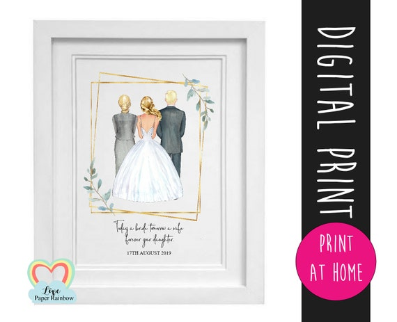 parents of the bride gift printable mother of the bride print thank you greenery download today a bride tomorrow a wife portrait creator