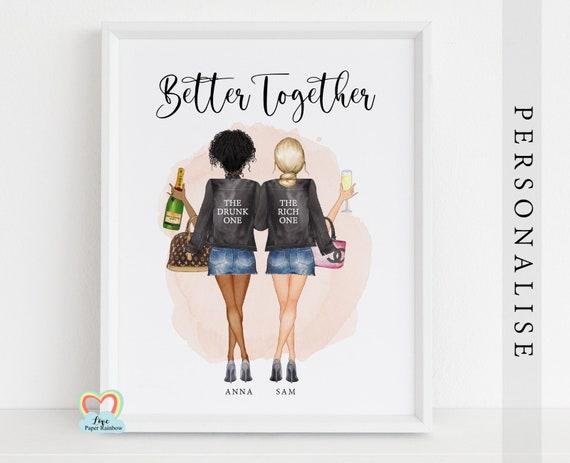 shopping best friends print, personalised best friend print, drunk best friends, funny best friend gift, best friend birthday gift