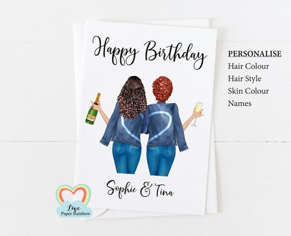 personalised friend birthday card, best friend birthday card, 2 friends birthday card, twins birthday card, personalised twin girls birthday