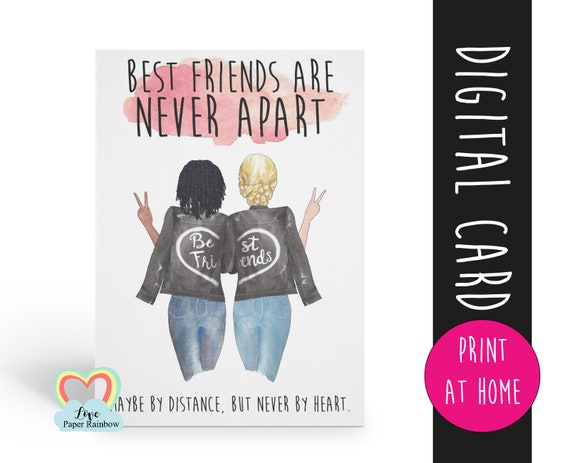 best friends are never apart, best friend card printable, digital best friend card, electronic best friend birthday card, diy best friend