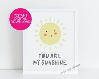 you are my sunshine print, nursery print, nursery quote print, nursery art, nursery illustration, nursery decor, quote print, baby gift