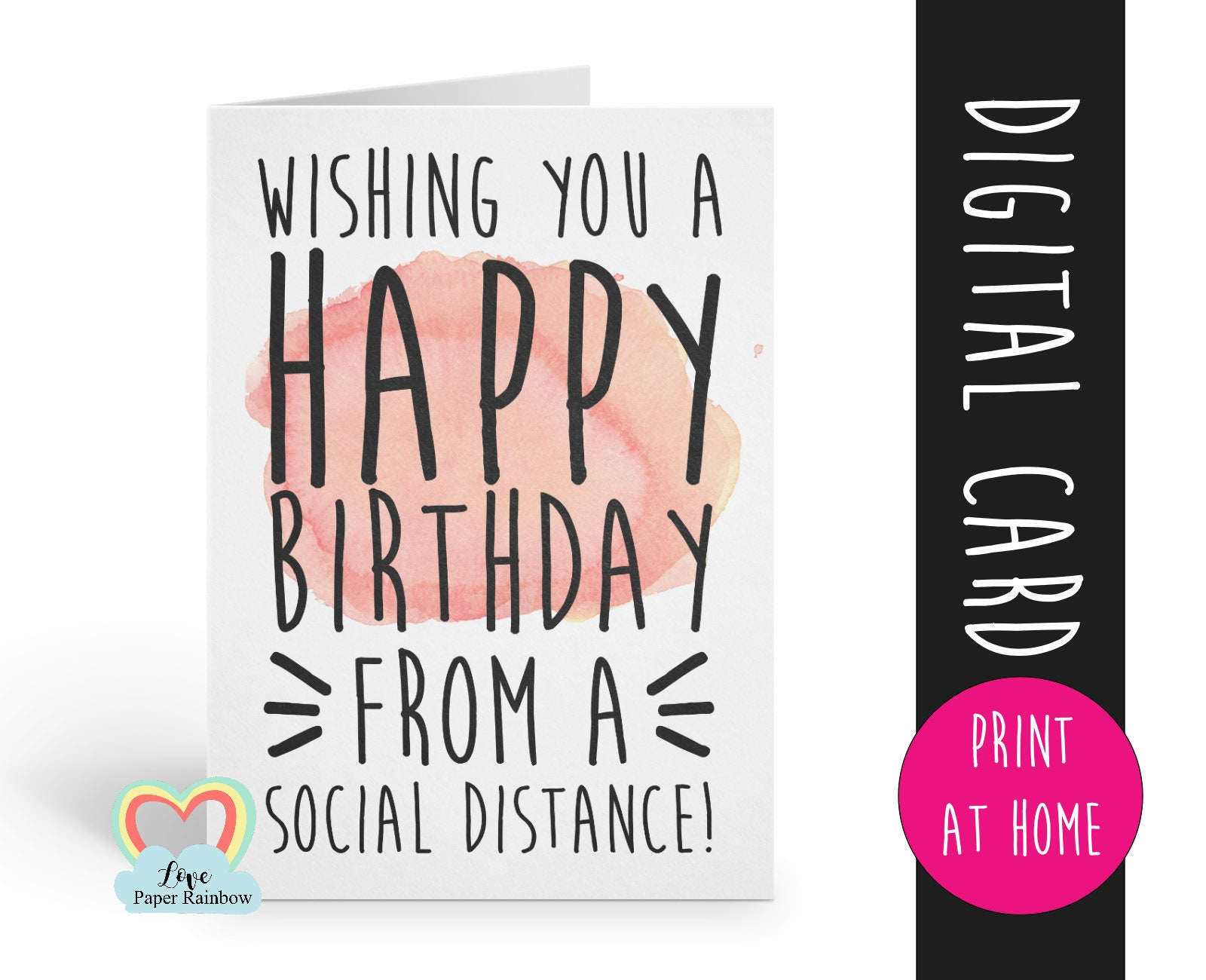 Swell Printable Birthday Card Social Distance Instant Download Funny Social Funny Birthday Cards Online Elaedamsfinfo