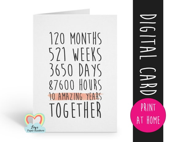 PRINTABLE 10th anniversary card, 10th wedding anniversary card, 10 years together, 10 amazing years, valentines card, gay anniversary card,