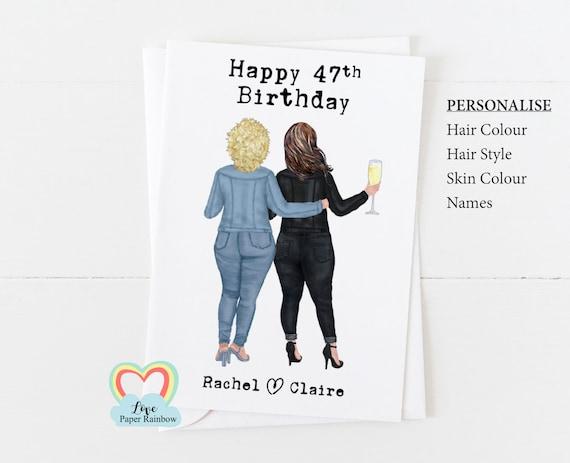 personalised best friend birthday card curvy woman birthday card fat friends birthday card love paper rainbow