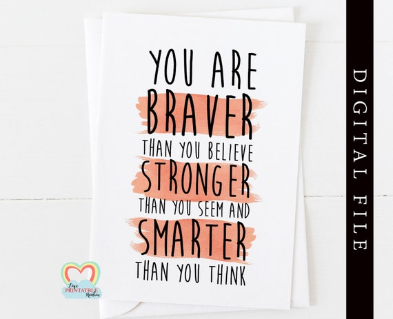 PRINTABLE you are braver than you believe, winnie the pooh quote, motivational card, inspirational quote, encouragement card, self esteem