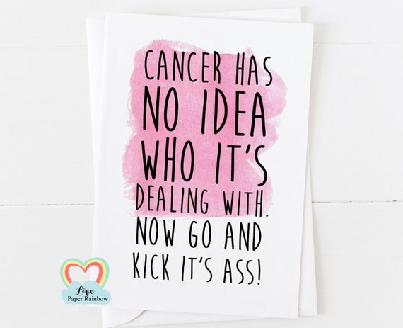 funny cancer card, cancer support card, cancer charity card, chemo card, chemotherapy card, cancer has no idea who it's dealing with
