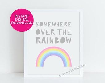 somewhere over the rainbow quote print, nursery wall art, nursery decor, kids bedroom decor, rainbow art, nursery quote print, rainbow decor
