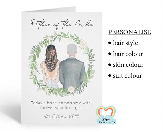 father of the bride personalised card today a bride tomorrow a wife forever your little girl to my father on my wedding day portrait