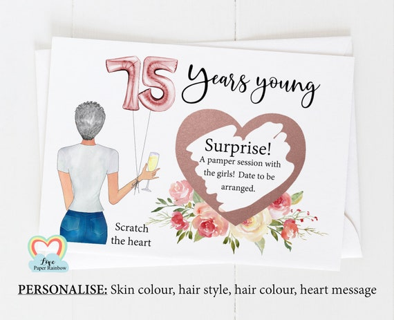 75th surprise card, personalised 75th birthday card, girl 75th birthday card, 75th birthday scratch card, scratch and reveal card,