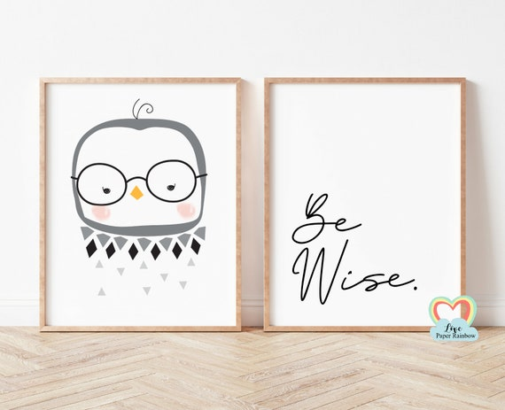be wise nursery print, owl nursery print, black and white nursery prints, nursery quote, baby boy gift, woodland theme, cute nursery art