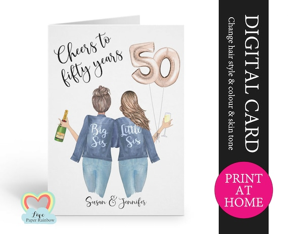 personalized 50th sister birthday card printable cheers to 50 years digital pdf custom little sister 50th printable card print at home