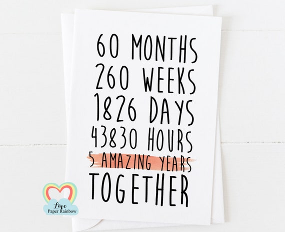 5th anniversary card, 5th wedding anniversary card, 5 years together, 5 amazing years, gay anniversary card, valentines card