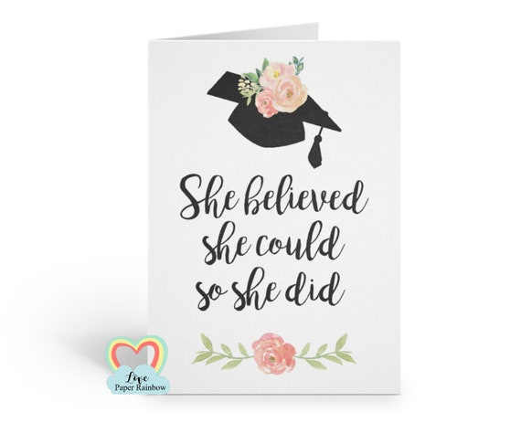 graduation card 2018 she believed she could so she did class of 2019 greeting card