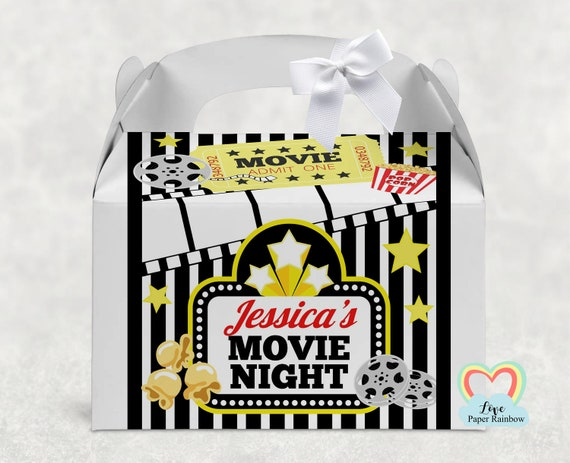 Movie night box, movie night treat box, movie birthday party favour, personalised party box, film night, movie party decorations