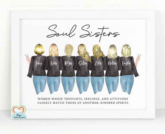 soul sisters print, personalised best friend print, 7 best friends print, soul sister definition, best friend quote, friendship gift