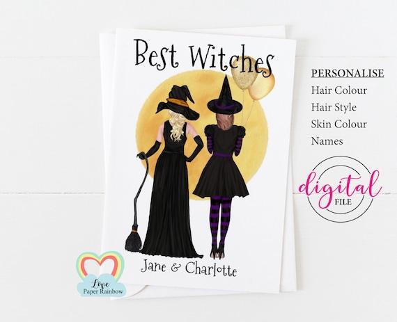 custom halloween card, halloween birthday card printable, best witches, best witches birthday card, diy halloween card, best friend