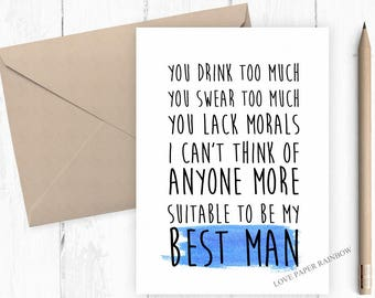 funny best man card, will you be my best man, groomsman card, will you be my groomsman, will you be my usher, funny groomsman card