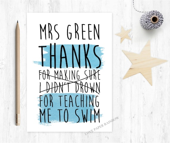 swimming teacher card funny thanks for teaching me how to swim personalised custom
